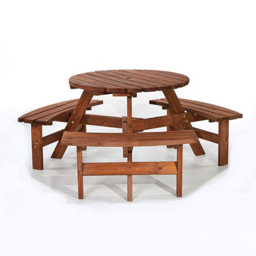Brentwood brown 6 seat round picnic table