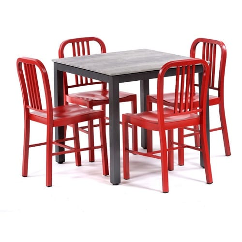 Square 800 dining set with cement isotop and red valetta chairs
