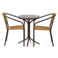 Tavoli steel bistro dining set with two armchairs